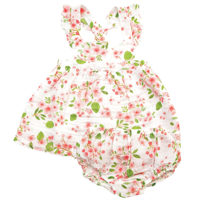 Cherry Blossom Pinafore & Bloomer Set