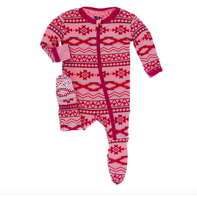 Print Footie with Zipper - Strawberry Mayan