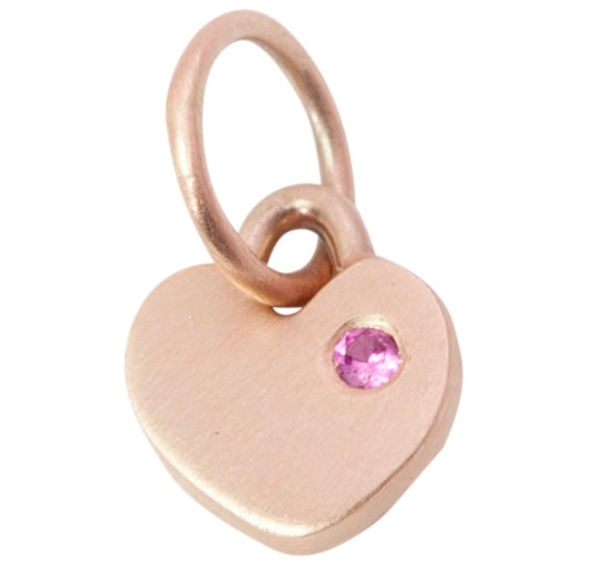 Itty Bitty Flat Heart Charm - 14K Yellow Gold with Diamond