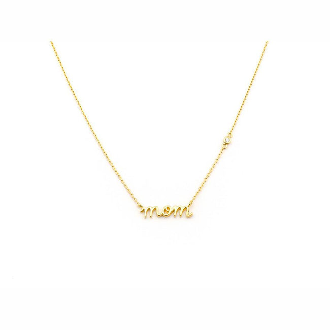 "Simple Chain with ""Mom"" Name Plate Necklace"
