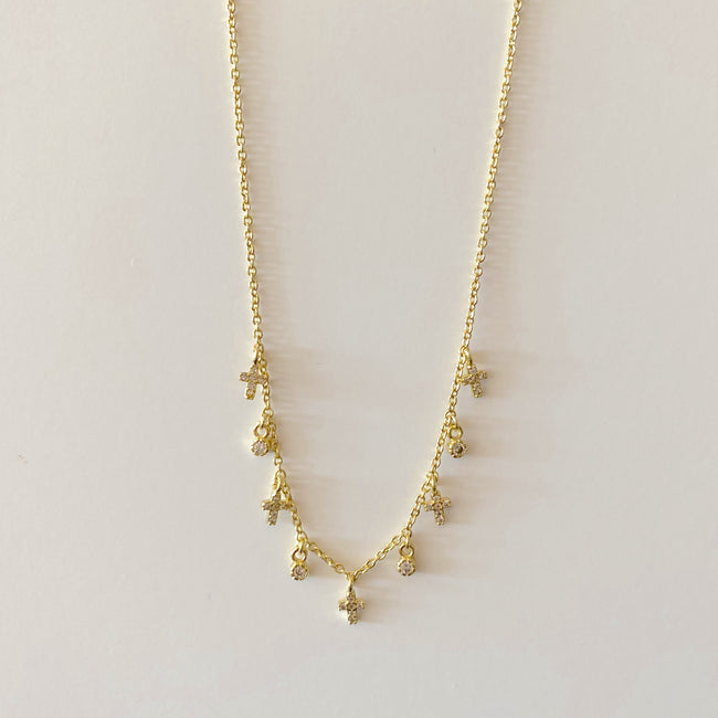 "16"" Tiny Pave Cross Dangle Necklace- Gold"