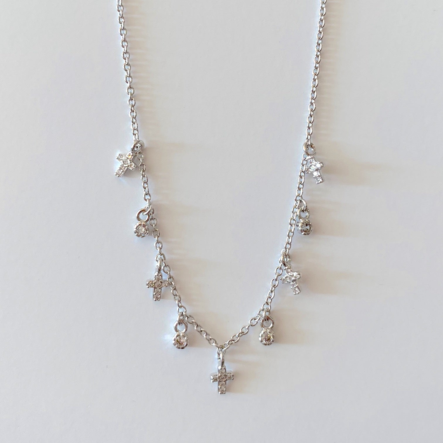 "16"" Tiny Pave Cross Dangle Necklace- Silver"
