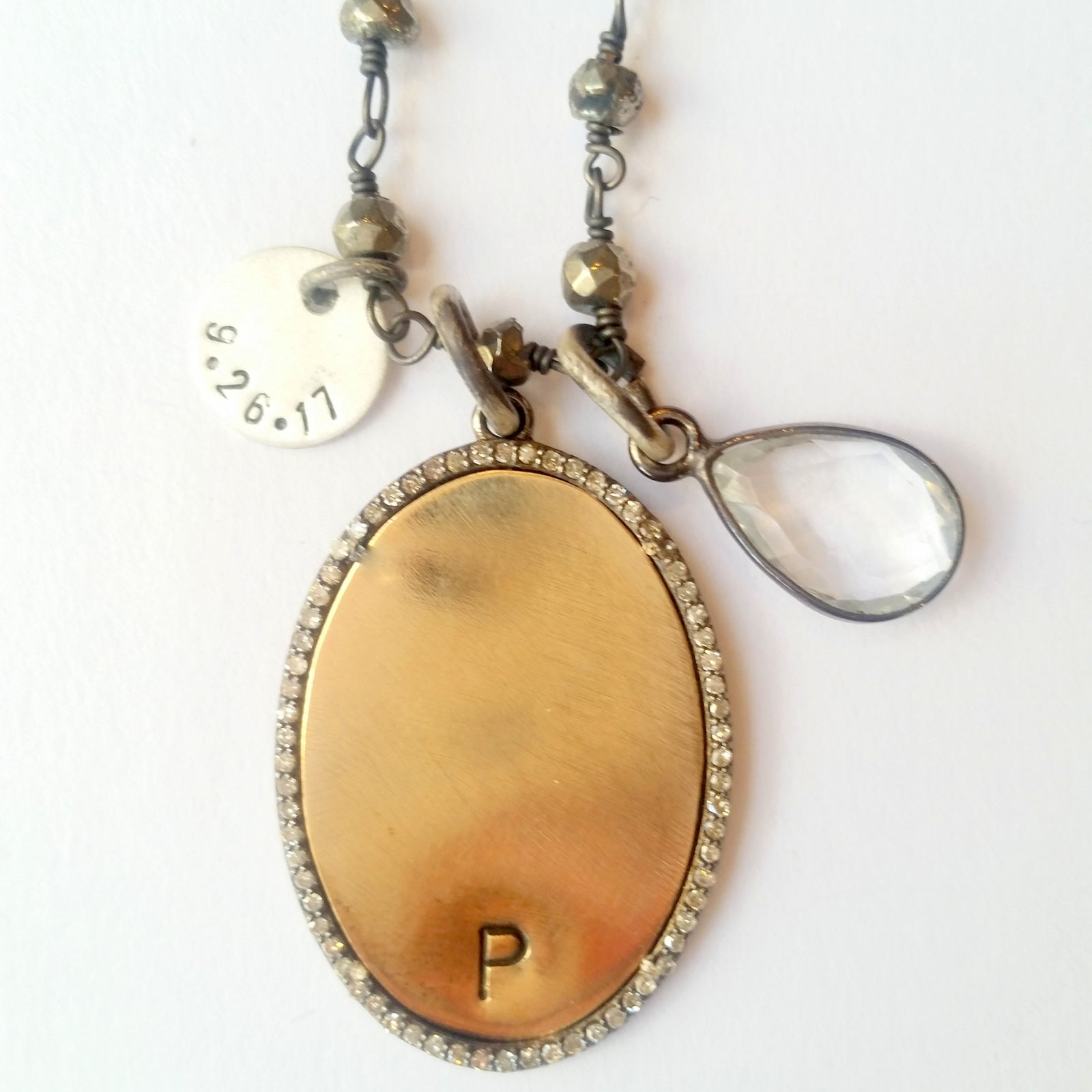 Monogram Disc Necklace with Date Charm