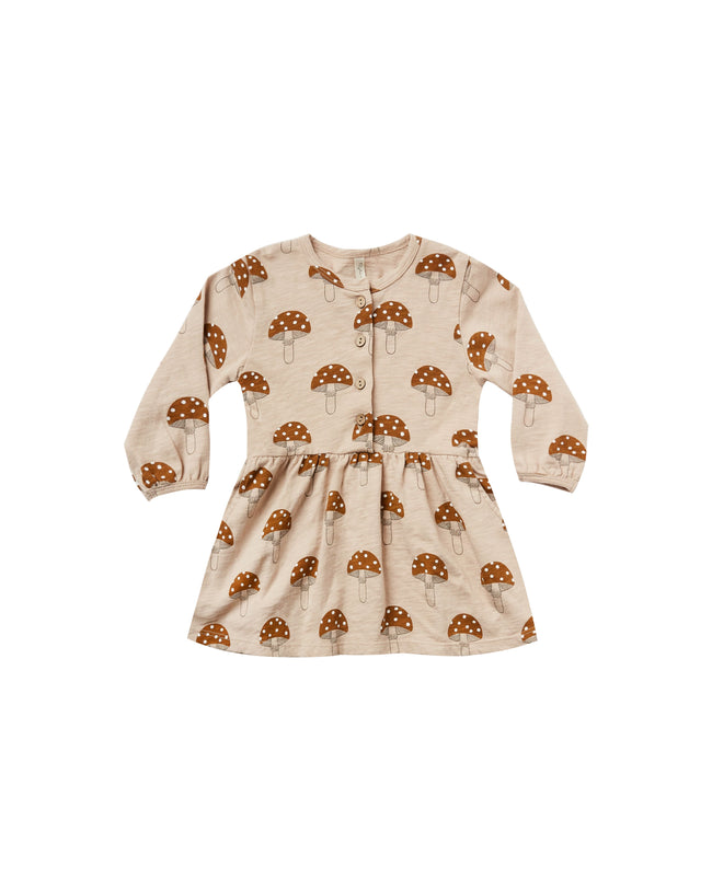 Mushroom Button Up Dress - Oat
