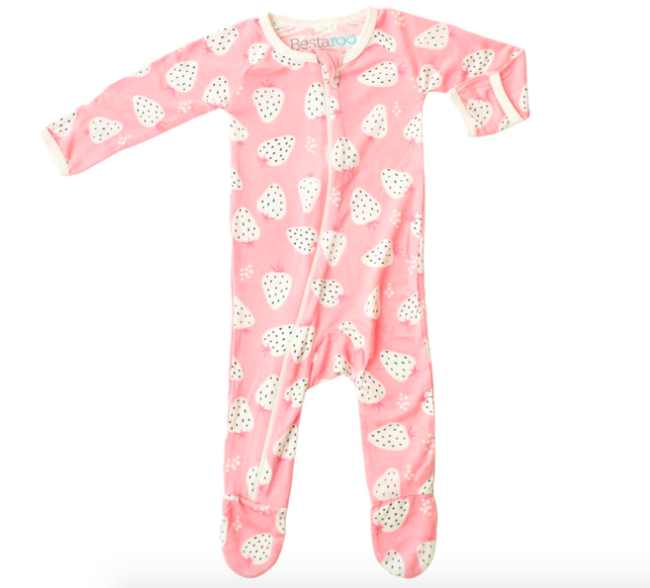 Print Footie with Zipper - Strawberry