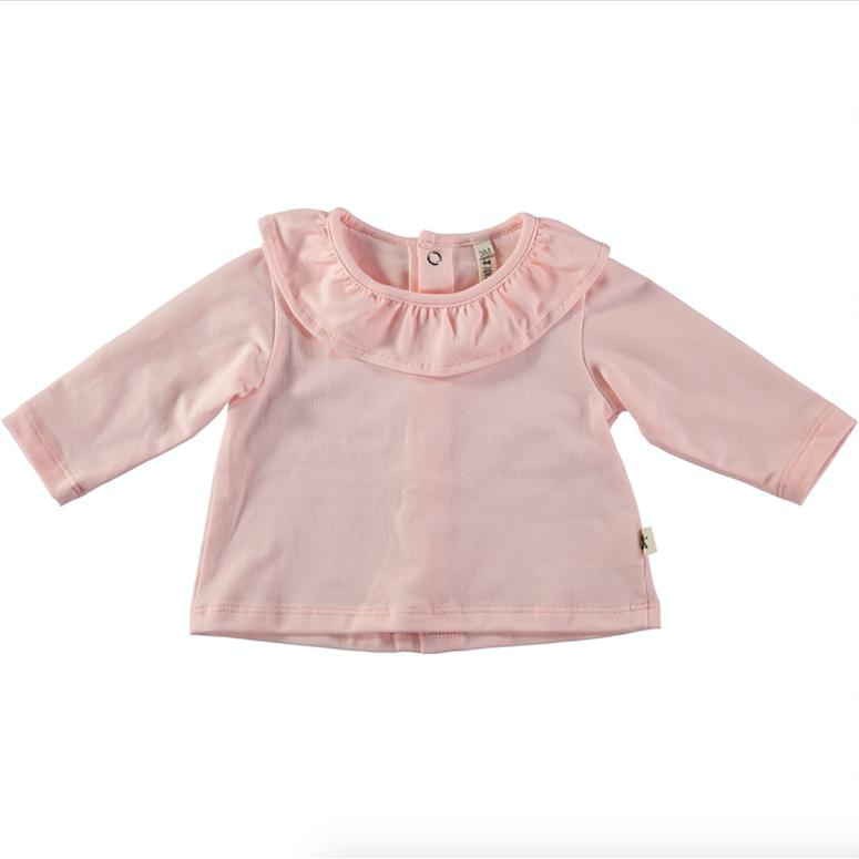 Ruffle Long Sleeve T-Shirt - Pink