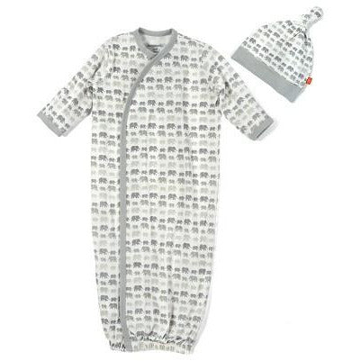 Gray Dancing Elephant Magnetic Gown Set