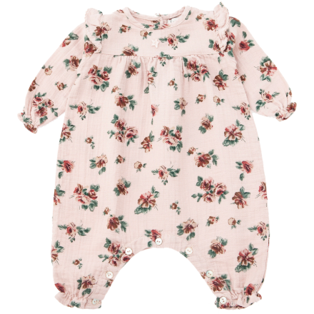 Print Romper with Shoulder Detail - Pink Flower