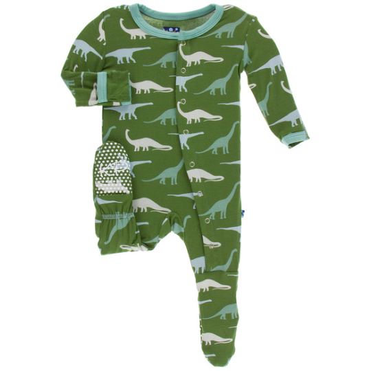 Print Footie with Zipper - Moss Sauropods