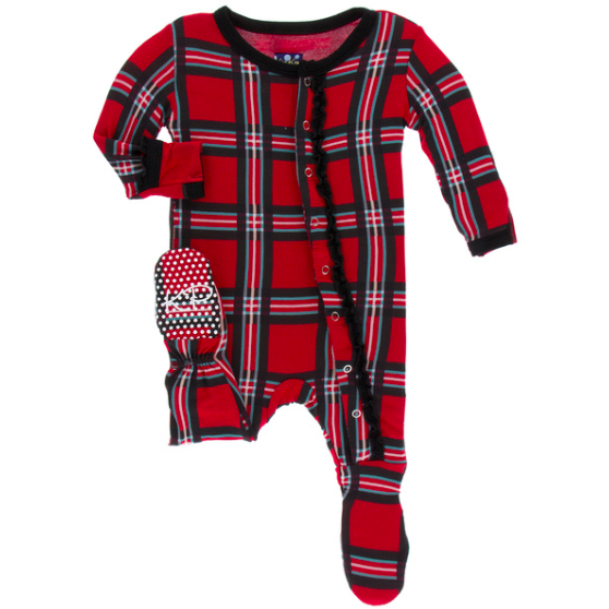 Muffin Ruffle Footie with Zipper - Christmas Plaid