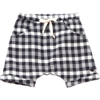 Bermuda Cotton Shorts - Navy & White Check