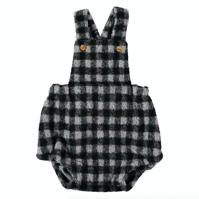 Fleece Romper - Navy Check