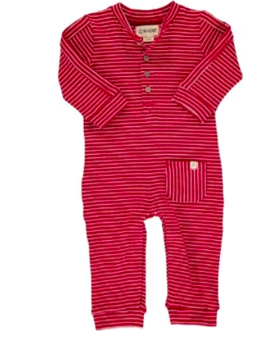 Jersey Romper - Red Stripe