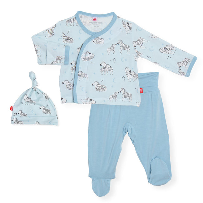 Little One Modal Magnetic 3pc Kimono Set - Blue