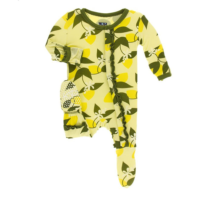 Print Muffin Ruffle Footie with Zipper - Lime Blossom Lemon Tree