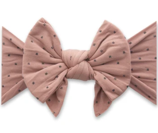 Dang Enormous Bow Headband - Putty with Black Dots