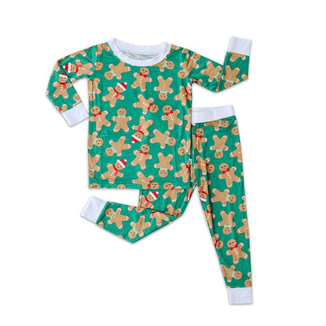 Green Gingerbread Two-Piece Bamboo Viscose Pajama Set