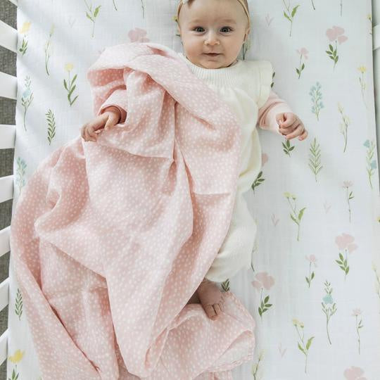 Pink Spotted Cotton Muslin Swaddle Blanket