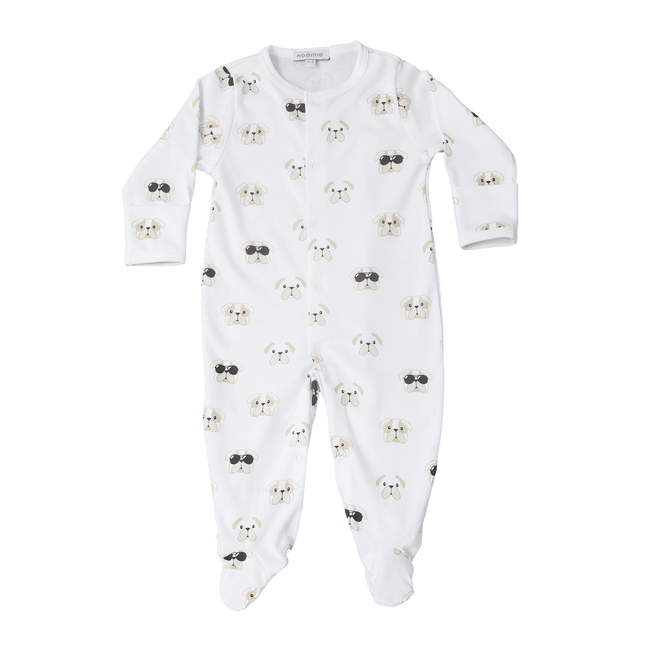 Pima Cotton Snap Footie - Black Bulldog