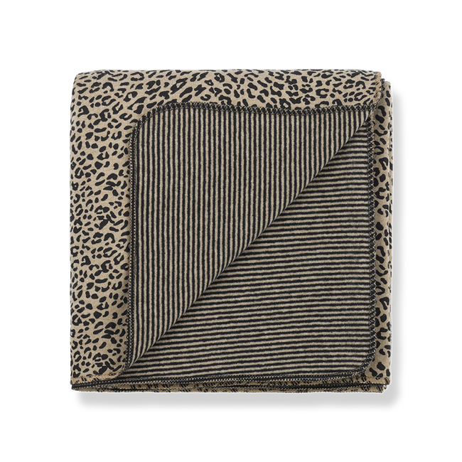 Fleece Blanket - Black & Beige Leopard