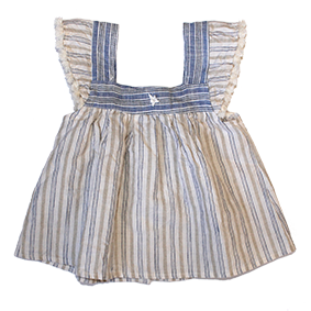 Striped Linen Dress/Bloomer Set