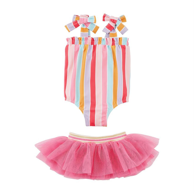 Stripe Swimsuit with Tutu Set