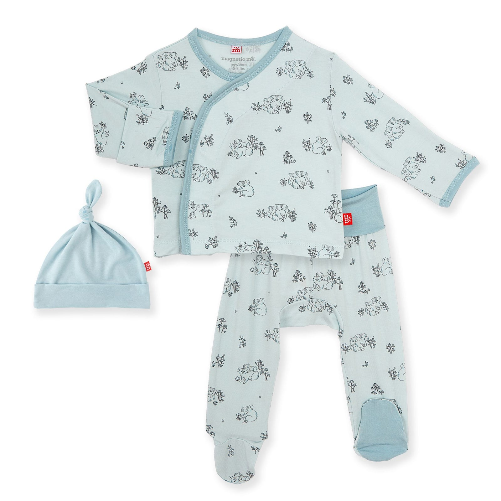 Koala Cuddles Blue Magnetic 3pc Kimono Set