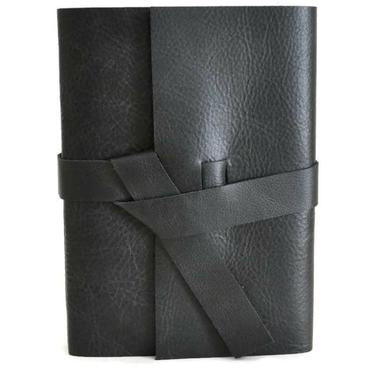 "6"" x 8"" Lined Leather Journal - Black"