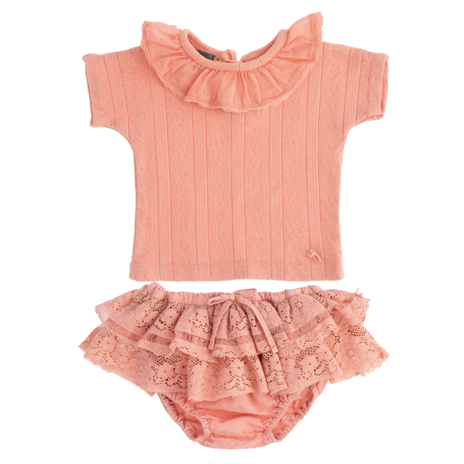 Pointelle & Lace Bloomer & Tee Set