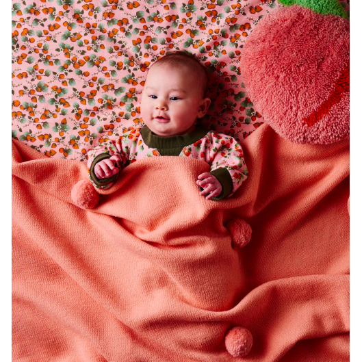 Peach 100% Wool Pom Pom Blanket