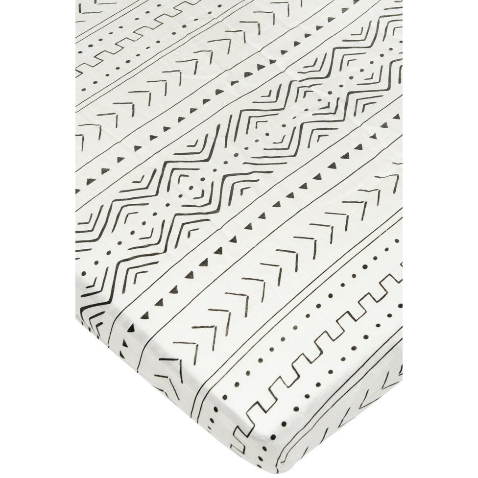 Muslin Crib Sheet - White Mudcloth