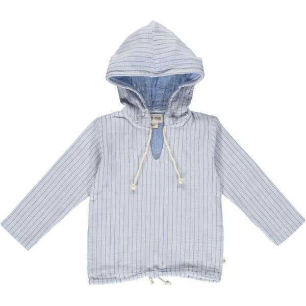 Gauze Hooded Top - Blue