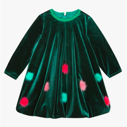 Velvet Pom Pom Bubble Dress - Green