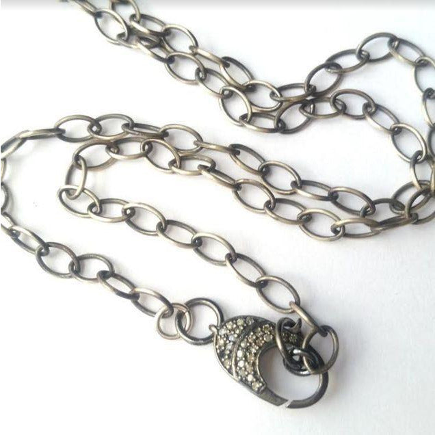 Sterling Chain with Diamond Clasp