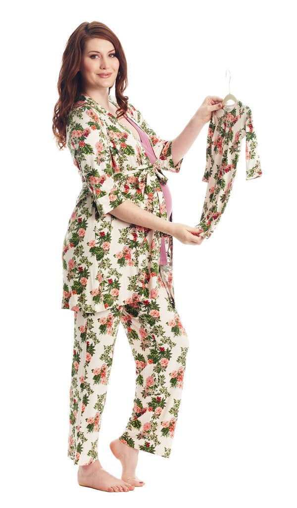 Five-Piece PJ Set - Beige Floral