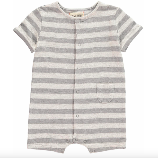 Striped Jersey Romper - Grey