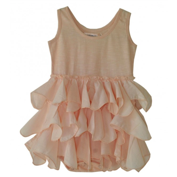 Merel Tiered Ruffle Romper - Dusty Pink