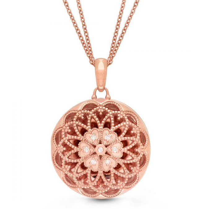 Elaine Locket Necklace - Rose Gold