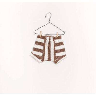 Striped Fleece Shorts - Walnut & Ivory