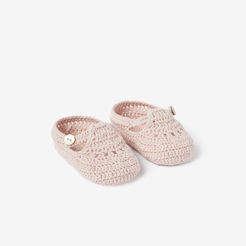 T-Strap Hand Crocheted Baby Booties - Blush