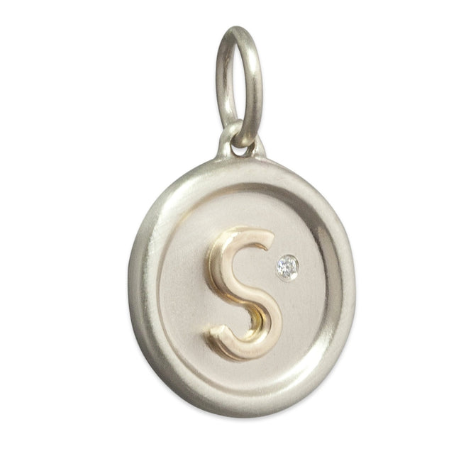 Raised Gold Initial Disc Charm