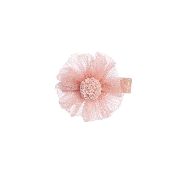 Shimmery Daisy Hair Clip - Pink
