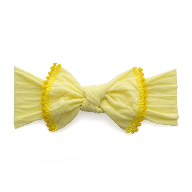Trimmed Mini Pom Knot Headband - Lemon