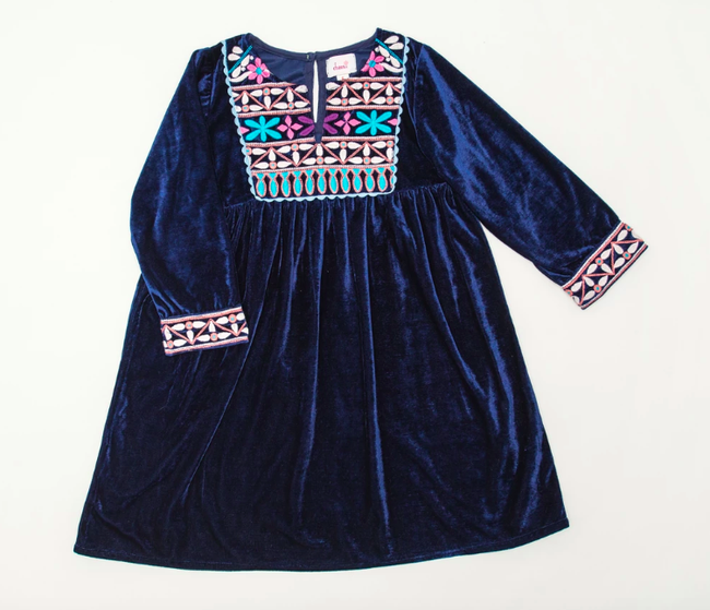 Joya Banjara Dress - Navy Velvet