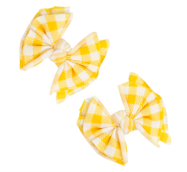 Printed Fab Baby Clip - Mustard Gingham