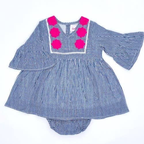 Rose Baby Dress & Bloomer - Grey