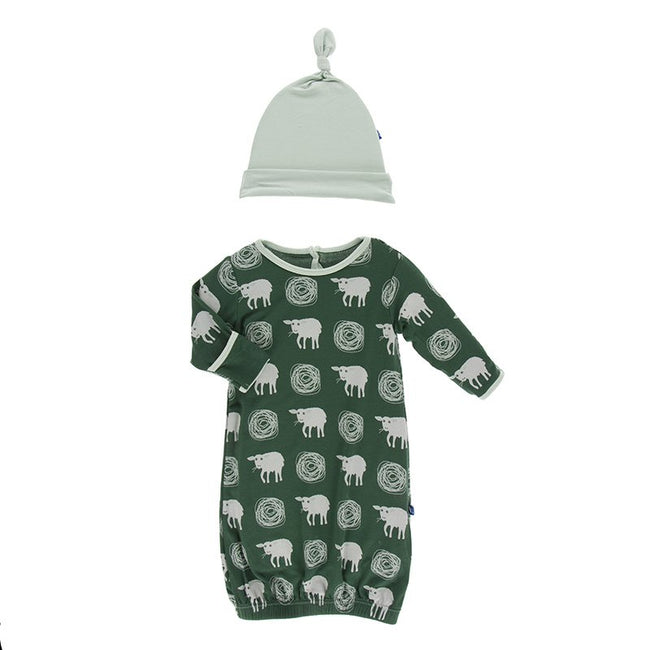Gown & Single Knot Hat Set - Topiary Tuscan Sheep