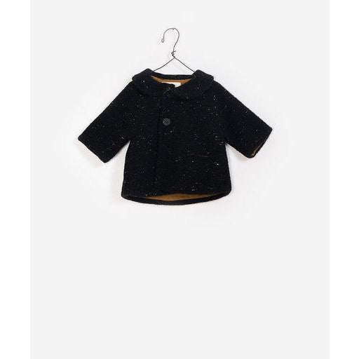 Button Up Collar Coat - Black