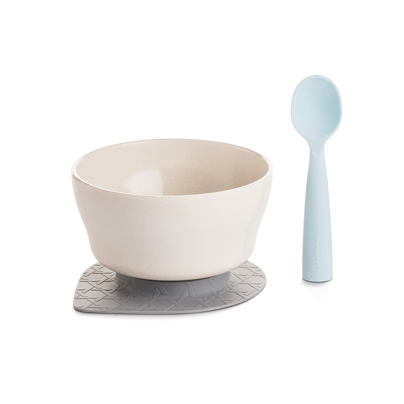 First Bites Bowl & Spoon Set - Bamboo & Aqua