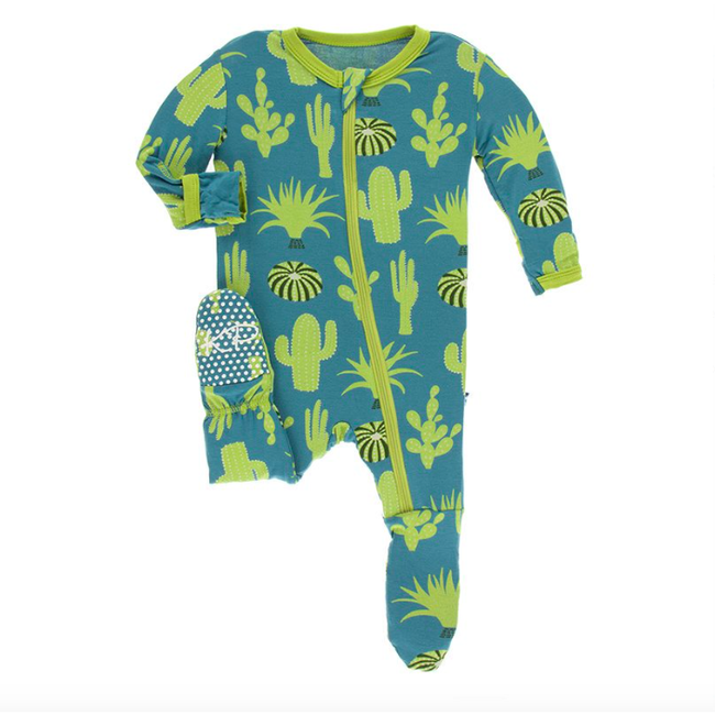 Print Footie with Zipper - Seagrass Cactus